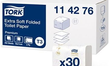 Tork Folded Toilet Paper Compatible with Tork T3 Folded Toilet System, 1 x 30 sleeves (30 x 252 Sheets)
