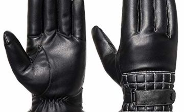 Mens PU Leather Gloves Touchscreen - Acdyion Winter Faux Lea