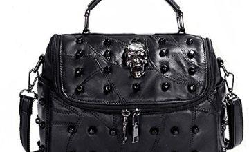 Panlom® Women's Shoulder Bag Leather Skull Handbag Travel Hiking Backpack Cross body Shoulder Satchel Bag