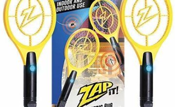 ZAP IT! Bug Zapper - Rechargeable Mosquito, Fly Swatter/Killer and Bug Zapper Racket - 4,000 Volt USB Charging, Super-Bright LED Light to Zap in the Dark (Twin Mini)