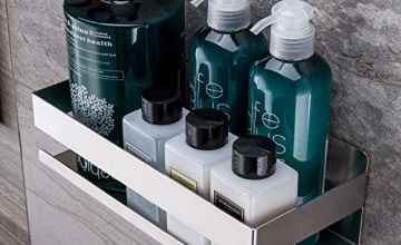 YIGII Self Adhesive Shower Shelf - Bathroom Shelf Stick on Wall Shower Caddy Stainless Steel