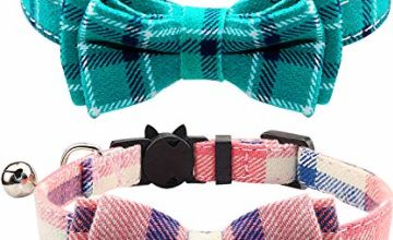 Joytale Quick Release Cat Collar with Bell and Bow Tie, Cute Plaid Patterns, 2 Pack Kitty Safety Collars