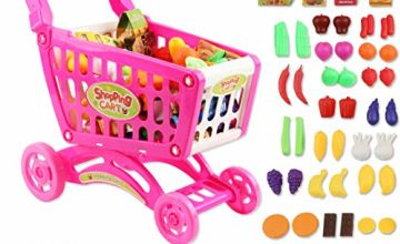 deAO Shopping Cart Trolley for Children Play Set Includes 78 Grocery Food Fruit Vegetables Shop Accessories for Kids Boys and Girls (PINK)