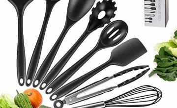UOON Silicone Kitchen Utensils 10 PCS Silicone Cooking Utensils Heat Resistant Kitchen Cooking Set Including Brush, Tongs, Spoon, Slotted Spoon, Large Spatula, Slotted Turner, ladle