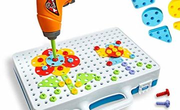 Enllonish Building Blocks Pegboard Toy Construction Toy Set Take Apart Toys with Crew Screwdrivers Nut and Spanner   3D Building Block Creative Puzzle DIY Set for Children Ages 3+ Years Old