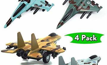 Corper Toys 4 Packs Pull-Back Airplanes Set Diecast Fighter