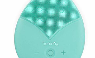 SUNMAY Sonic Facial Cleansing Brush and Face Massager with Timer, Waterproof Silicone Anti-aging Face Cleanser and Exfoliator Makeup Tool for Facial Polish and Scrub
