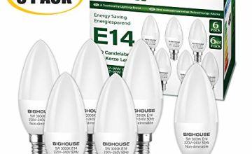 E14 LED Candle Bulbs, 40W Incandescent Bulb Equivalent, 5W, 400lm, 3000K Warm White, C37 SES Small Edison Screw LED Bulbs, CRI>80 [Energy Class A+] (Pack of 6)