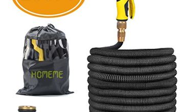 Garden Hose, Homeme 100 Feet Newest Expandable Strongest Magic Hose Pipe with Solid Brass Fittings & 9-pattern Spray Nozzle (Black)
