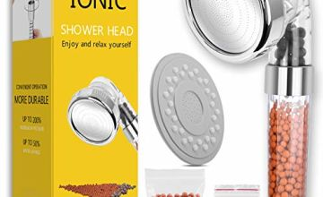 Ionic Shower Head Handheld High Pressure Water Saving 3 Modes Adjustable Filter Showerhead for Hard Water Low Water Pressure Contains Additional Replaceable Stone