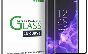 Galaxy S9 Screen Protector Glass, amFilm Full Cover (3D Curved) Tempered Glass Screen Protector with Dot Matrix for Samsung Galaxy S9 (Black)