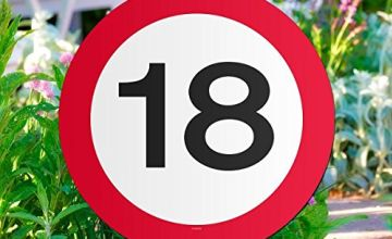Traffic Sign 18th Party Garden sign, 44cm x 26cm x 1cm. Coated Card with Plastic Stick