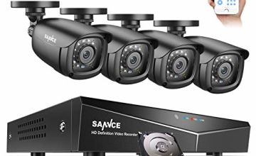 SANNCE 8 Channel 1080P Outdoor CCTV Camera System, 4pcs 1080P Weatherproof Home Security Camera, Motion Detection, Email &APP Alert, P2P, 1080P Live Viewing CCTV Kits w/ 1TB Hard Drive Include