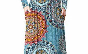 PCEAIIH Women's Casual Sleeveless/Long Sleeve Maxi Dress Loose Long Dresses with Pockets