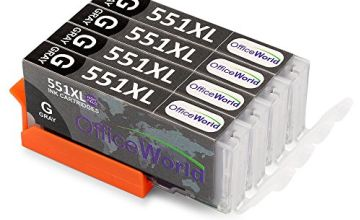 OfficeWorld Replacement for Canon CLI-551 CLI-551XL Grey Ink Cartridges Compatible for Canon Pixma iP8750 MG7550 MG6350 MG7150, Canon 8750 7150 7550 6350 (4 Grey)