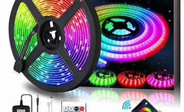 LED Strips Lights 5M(16.2ft), AMBOTHER RGB 150 LEDS 5050 SMD Strips Lighting with APP, Music Rope Lighting with Wireless Remote Control for Home Kitchen Christmas Indoor Decoration