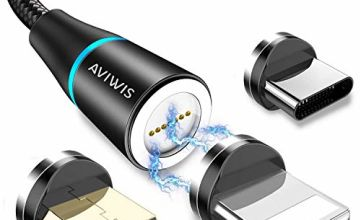 3 in 1 Magnetic Charging Cable, AVIWIS 2M Multi Magnetic Charger Cable Nylon Braided Magnetic 3A Fast Charger Cable for Smartphones Micro USB/Type C/Phone