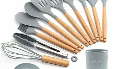 Silicone Kitchen Utensils Set,13 Pcs Wooden Handles Spatula Set,Cooking Utensils for Non Stick Pans,Silicone Spatulas for Cooking Kitchen Gadgets Tools (Green)