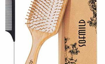 Hair Brush, Eco-Friendly Natural Wooden Bamboo Paddle Hairbrush for Long Short Curly Thick Thin Hair for Men Women Kids, Massaging Scalp, Reducing Tangle & Hair Breakage, Promoting Hair Growth