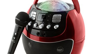 GOODMANS Disco Ball Karaoke Machine with LED Lights - Red