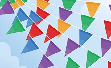 100M Bunting Banner, Multicolor Flag Banners with 200 pcs Triangle Flags, Nylon Fabric Bunting Banners for Birthday, Wedding, Outdoor, Indoor Activity, Party Decoration