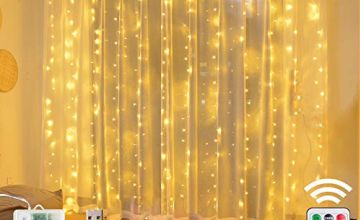 Window Curtain String Lights- 3M(H)*1.5M(W) USB Or Battery Operated 8 Modes with Remote & Timer Fairy Lights 200LED Indoor Outdoor Lights for Wedding Party Home Bedroom Wall Warm White