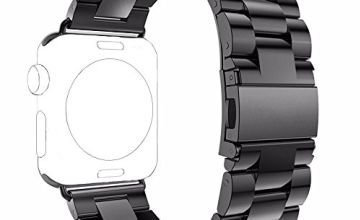 PUGO TOP Strap Compatible for Apple Watch Series 5/4/3/2/1 38mm 40mm 42mm 44mm, Solid Stainless Steel Metal Unique Polishing Process Business Replacement Band with Durable Folding Clasp for Iwatch