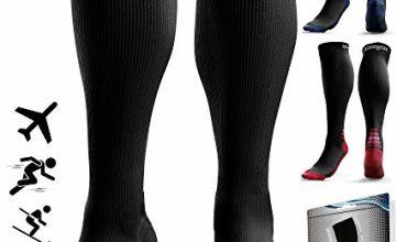 aZengear Graduated Compression Socks for Women & Men - Airplane DVT Flight Socks - Travel - Running - Skiing - Nurses - Maternity - Pregnancy - Blood Circulation (20-30 mmHg)
