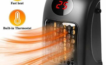 900W Ceramic Space Heater Teamyo Electric Heater with Adjustable Thermostat & Overheat Protection, Portable Heater with Fast Heating & No Noise, Small Heater with Digital Display for Home/Office