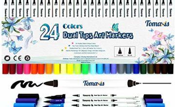 Bullet Journal 24pcs Colouring Pens, 0.4mm Felt Tip Pens Dual Tip Brush Art Markers Fineliner, Water Color Drawing Pens