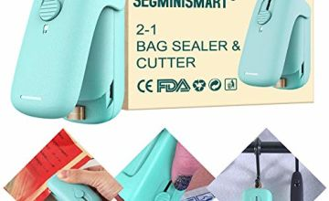 Mini Bag Sealer, Handheld Heat Vacuum Sealers, 2 in 1 Heat Sealer and Cutter Handheld Portable Bag Resealer Sealer for Plastic Bags Food Storage Snack Fresh Bag Sealer (Battery Not Included)