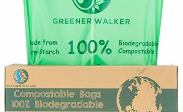 Greener Walker 25% Extra Thick Compost 6L/10L/30L Caddy Bin Liners-120 Bags Biodegradable Kitchen Food Waste Bags(6L)