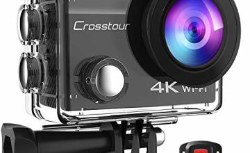 Crosstour 4K 20MP Action Camera Webcam WiFi EIS Waterproof 40M with External Microphone and Remote Control