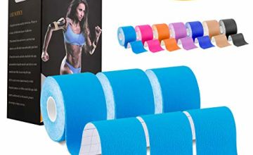 Deilin Kinesiology Tape 19.7ft Uncut Per Roll, Elastic Therapeutic Sports Tapes for Knee Shoulder and Elbow, Waterproof Athletic Physio Muscles Strips, Breathable, Latex Free