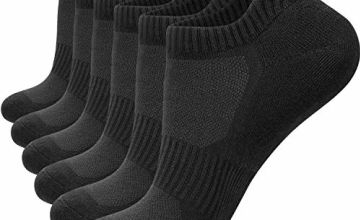 Anqier 6 Pairs Mens Socks Trainer Socks Women Running Socks Cotton Cushioned Low Cut Sports Socks Ankle Athletic Walking ladies socks with Heel Tab, soft plush sole (Size 3-15)