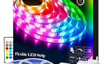 LED Strips Lights, RGB 5050 LEDs Colour Changing Kit with 24key Remote Control and Power Supply, Mood Lighting Led Strips for Home Kitchen Christmas Indoor Decoration
