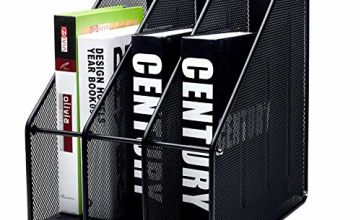 EXERZ Magazine Holder Triple Rack, Mesh Metal - 3 Compartments Documents/Notebooks/Folder/Organiser