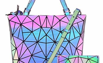 Hot One Color Changes Geometric Luminous Purses and Handbags Holographic Purse Reflective Purse Cross Bag (5# Luminous Large+Button Wallet Set)