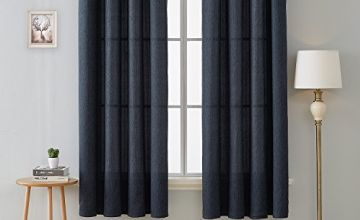 Deconovo Home Decoration Textured Curtains Eyelet Faux Linen Panels for Bedroom with Two Tiebacks