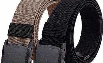 Hoanan 2-Pack Elastic Stretch Belt, Men's Plus Size No Metal