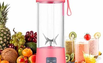 Personal Blender [Upgraded Version], Portable Juicer Cup/Electric Fruit Mixer/USB Juice Blender, Rechargeable, Six Blades in 3D for Superb Mixing, 380mL