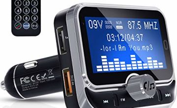 FM Transmitter, Clydek Bluetooth FM Transmitter Radio Adapter Audio Receiver Stereo Music Tuner Car Kit with Dual USB 2.4A Charger, Remote Control [1.8 Inch Large Screen]