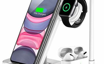 LESHI Wireless Charger, 4 in 1 Qi-Certified 10W Fast Charger Station for iwatch Airpods i Phone 11/11pro/11pro Max/X/XS/XR/Xs Max/8/8 Plus, Wireless Charger Stand for Galaxy S10/S10 Plus (Black)