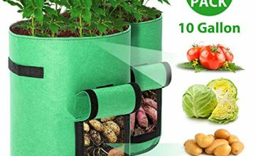 Tvird Potato Grow Bags 2 Pack 10 Gallon Potato Growing Bags Potato Planting Bag with Flap and Handles for Potato, Tomato, Carrot (Green)