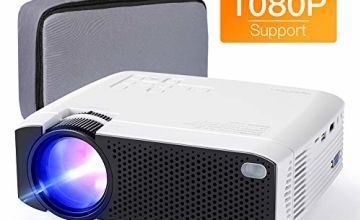 "Projector APEMAN Mini Portable Projector with Full HD 1080P and 180"" Display"