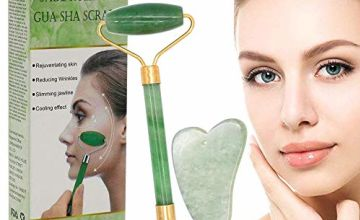 Jade Roller,Jade Roller face Massager,Natural Jade Facial Roller,Anti Aging Roller Facial Massager with Gua SHA Scraping Massage Tool Set for Neck Skin,Puffiness Facial,Cheeks Slimmer,Skin Tightening