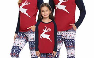 Aibrou Family Christmas Pyjamas Set for Man Women Girl Boy Xmas Matching Pjs Sleepwear Outfits Top and Pants Outfit Set