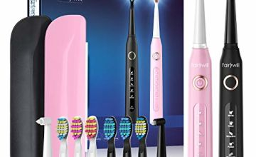 Fairywill Set of 2 Electric Toothbrush Rechargeable, 10 Dupont Brush Heads & 2 Travel Cases, Sonic Whitening Toothbrush with 5 Modes for Adults and Juniors, Black and Pink(FW-507 Set)