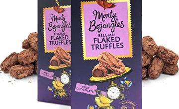 Monty Bojangles Belgian Milk Chocolate Luxury Flaked Truffles, 2 x 100g Gift Boxes