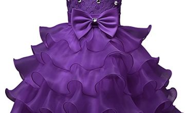 NNJXD Girl Dress Kids Ruffles Lace Party Wedding Dresses Siz